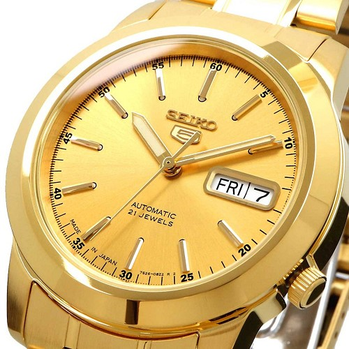Seiko 5 SNKE56J1 21 Jewels Automatic Gold Dial Stainless Steel JAPAN MADE Men's Watch