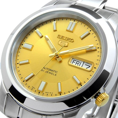 Seiko 5 SNKK13K1 SNKK13 Automatic 21 Jewels Gold Dial Stainless Steel Men's Watch