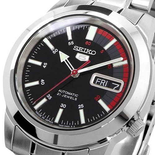 Seiko 5 SNKK31J1 Automatic 21 Jewels Black Dial Stainless Steel Men's Watch - Made in Japan