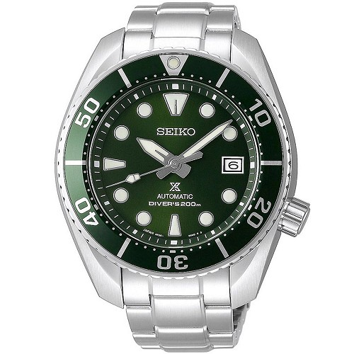 Seiko Prospex Sumo 3rd Generation SPB103J1 24 Jewels Automatic Diver Scuba Green Dial Stainless Steel Men's Watch - Made in Japan