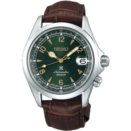 Seiko Prospex Alpinist SPB121J1 24 Jewels Automatic Green Dial Dark Brown Leather Strap Men's Watch - Made in Japan