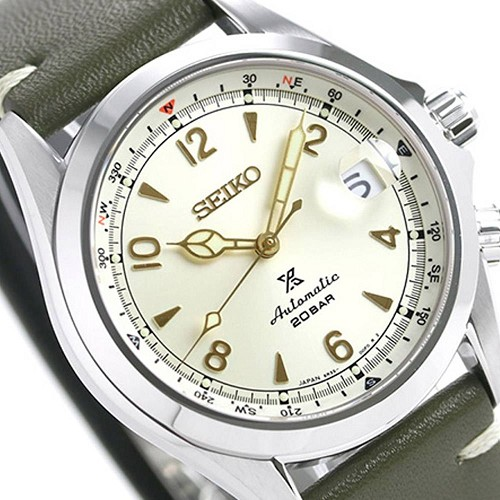 Seiko Prospex SPB123J1 Alpinist 24 Jewels 200M Cream White Silver Dial Green Leather Strap Men's Watch - Made in Japan
