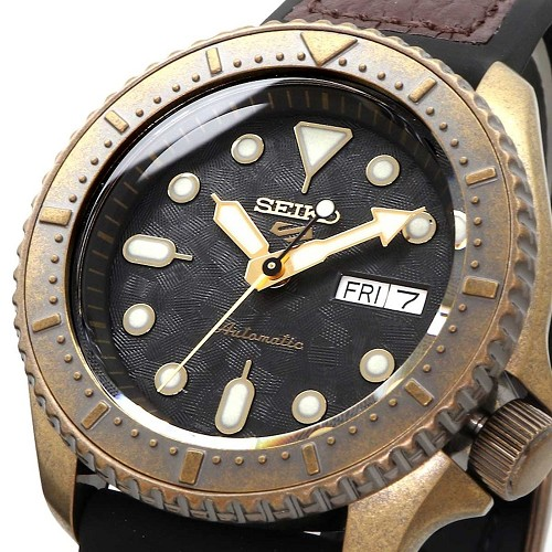 Seiko 5 Sports Vintage SRPE80K1 Automatic 24 Jewels Black Dial Calfskin + Silicone Strap Men's Watch