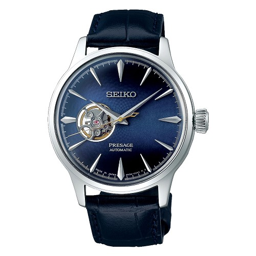 "Seiko Presage SSA405J1 Cocktail Time 24 Jewels Automatic ""BLUE MOON"" Open Heart Blue Dial Men's Watch - Made in Japan"