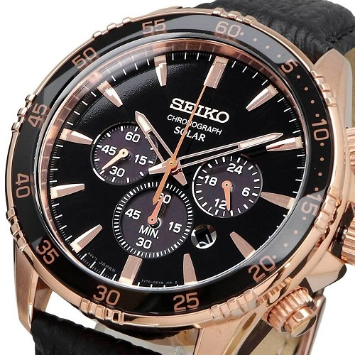 Seiko Solar SSC448P1 Black Dial Rose Gold Stainless Steel Case Black Leather Strap Chronograph Men's Watch